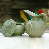 Ceramic sugar bowl and creamer, 'Gecko Fancy'  - Artisan Crafted Ceramic Sugar Bowl and Creamer