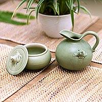 Ceramic sugar bowl and creamer set, 'Frog Fancy' - Indonesian Ceramic Cream and Sugar Set