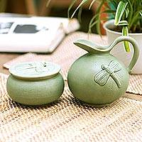 Ceramic sugar bowl and creamer, 'Dragonfly Fancy' - Ceramic Covered Bowl and Pitcher Set with Dragonflies