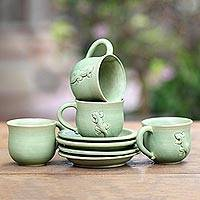 Ceramic teacups, 'Gecko and Co.' (set for 4) - Green Ceramic Cups and Saucers (Set of 4)
