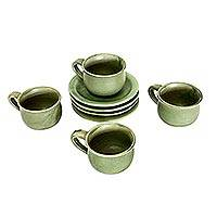 Ceramic cups and saucers, 'Bali Forest' (set for 4) - Ceramic cups and saucers (Set for 4)