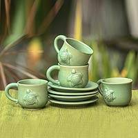 Ceramic cups and saucers, 'Turtle Action' (set for 4) - Ceramic Cups and Saucers (Set of 4)