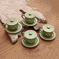 Ceramic cups and saucers, 'Dragonfly Myths' (set for 4) - Green Handmade Cups & Saucers (Set of 4)