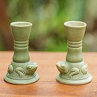 Ceramic candleholders, 'Yoke Frog' (pair) - Green Ceramic Animal Themed Candle Holders (Pair)