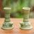 Ceramic candleholders, 'Yoke Frog' (pair) - Green Ceramic Animal Themed Candle Holders (Pair) thumbail