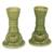 Ceramic candleholders, 'Yoke Frog' (pair) - Green Ceramic Animal Themed Candle Holders (Pair) (image 2a) thumbail