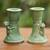 Ceramic candleholder, 'Mandrill' (pair) - Green Ceramic Monkey Candle Holders (Pair) (image 2) thumbail