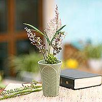 Ceramic vase, 'Forest Leaves' - Handcrafted Green Ceramic Vase