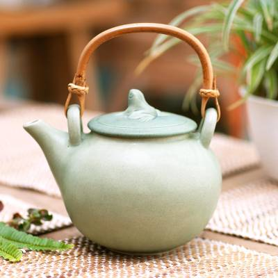 Ceramic teapot, 'Frog Song' - Hand Crafted Ceramic Teapot