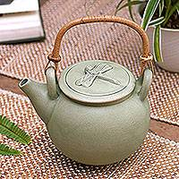 Ceramic teapot, 'Landing' - Green Ceramic Teapot Handmade in Indonesia