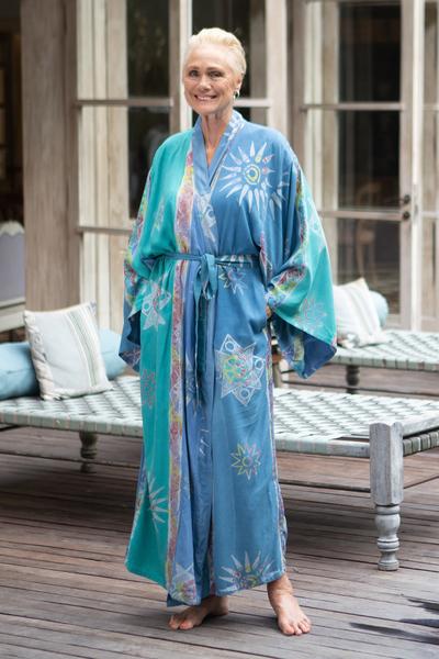 Women's batik robe, 'Green Baliku' - Women's Unique Batik Robe