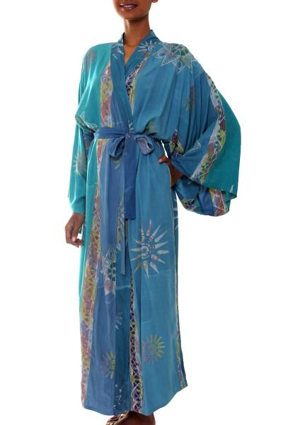 Women's batik robe, 'Green Baliku' - Women's Unique Batik Robe