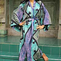 Women's batik robe, 'Seaside Blue' (long) - Women's Handcrafted Batik Rayon Loungewear