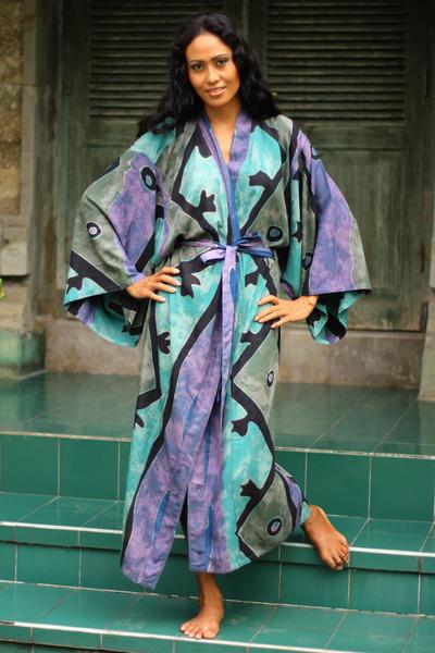 Women's batik robe, 'Seaside Blue' (long) - Women's Handcrafted Batik Robe