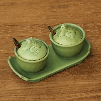 Ceramic condiment set, 'Coriander Frogs' - Ceramic Condiment Bowls Set with Tray