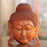 Mahogany wood mask, 'Beatific Buddha' - Mahogany Wood Mask of Buddha