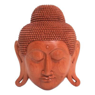 Mahogany wood mask, 'Beatific Buddha' - Mahogany Wood Mask of Buddha
