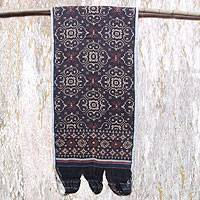 Cotton ikat wall hanging, 'Buffalo Footprint'  - Hand Crafted Cotton Ikat Wall Hanging