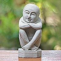 Sandstone sculpture, 'Whistling Man' - Unique Stone Sculpture