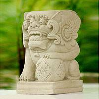 Sandstone statuette, 'Guardian Lion with Flower' - Sandstone Statuette from Indonesia