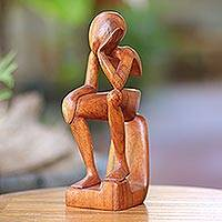 Wood sculpture, 'Pensive I'
