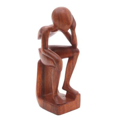 Wood sculpture, 'Pensive I' - Fair Trade Thinking Sculpture