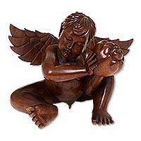 Wood statuette, 'Cherubic Angel of Harmony' - Wood statuette