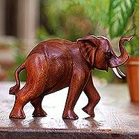 Wood sculpture, 'Elephant Trot' - Wood Sculpture Carved in Indonesia