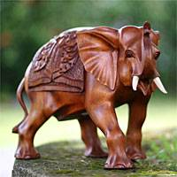 Mahogany sculpture, 'Asian Elephant' - Mahogany Wood Sculpture