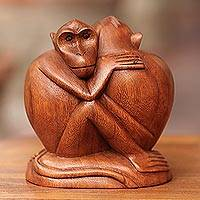 Wood statuette, 'Romancing Monkey' - Handcarved Wood Two Monkey's Statuette