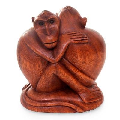 Wood statuette, 'Romancing Monkey' - Artisan Crafted Wood Statuette