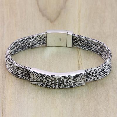 Sterling silver pendant bracelet, 'Transcend' - Handmade Sterling Silver Wristband Bracelet