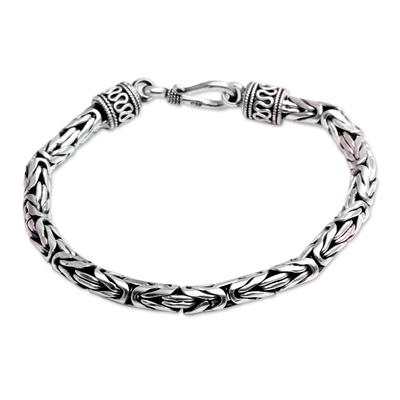Sterling silver chain bracelet, 'Prambanan' - Women's Handmade Sterling Silver Chain Bracelet