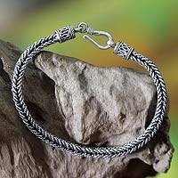 Bracelet, 'Herringbone' - Sterling Silver Link Bracelet