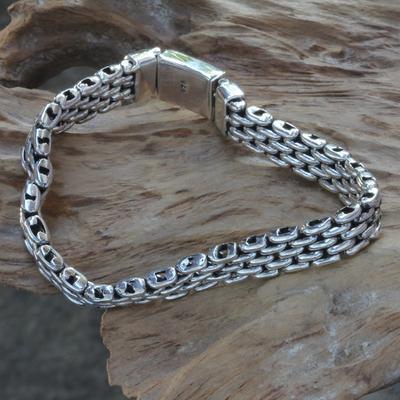 Men's sterling silver bracelet, 'Intermezzo' - Men's Sterling Silver Wristband Bracelet