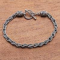 Men's sterling silver bracelet, 'Kasih Love Links' - Men's Indonesian Sterling Silver Bracelet