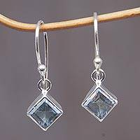 Topaz earrings, 'Heaven's Window' - Blue Topaz Sterling Silver Dangle Earrings