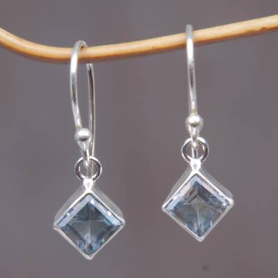 Topaz earrings, 'Heaven's Window' - Blue Topaz Sterling Silver Dangle Earrings