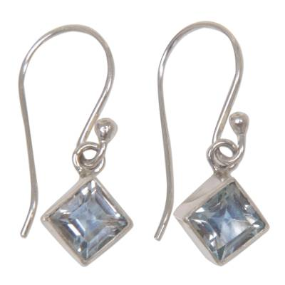Blue Topaz Sterling Silver Dangle Earrings