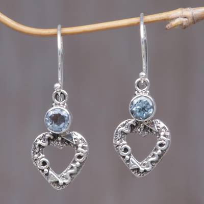 Blue topaz heart earrings, 'Romance' - Blue topaz heart earrings