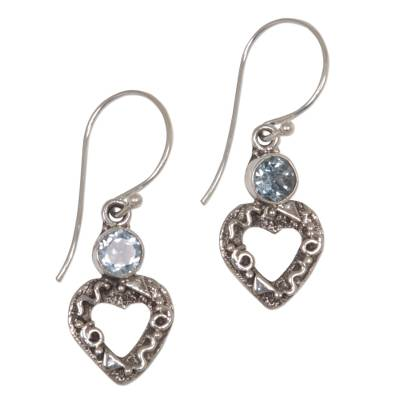 Blue topaz heart earrings
