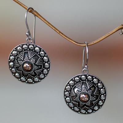 Sterling silver dangle earrings, 'Shields' - Sterling silver dangle earrings