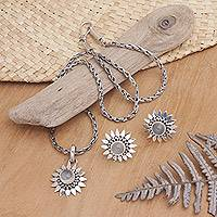Moonstone jewelry set, 'Silver Flames' - Floral Moonstone Sterling Silver Jewelry Set