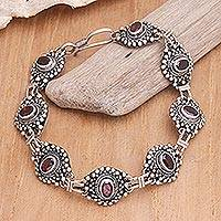 Garnet link bracelet, 'Forbidden Fruit' - Handmade Sterling Sivler Garnet Link Bracelet