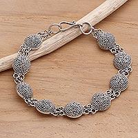 Sterling silver link bracelet, 'Buttons'