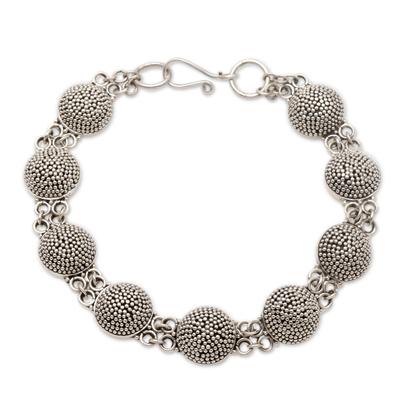 Sterling silver link bracelet, 'Buttons' - Sterling silver link bracelet