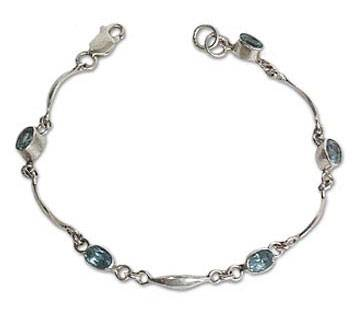 Faceted Blue Topaz Sterling Silver Unique Link Bracelet