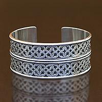 Bracelet, 'Bima'  - Handmade Sterling Silver Cuff Bracelet