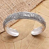 Sterling silver cuff bracelet, 'Enchanted Ivy'