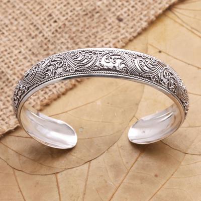 Sterling silver cuff bracelet, 'Enchanted Ivy' - Sterling Silver Cuff Bracelet